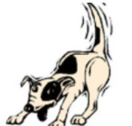 Cartoon dog with wagging tail